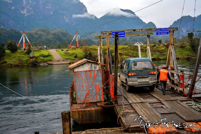 Nature powered vehicle transport in Aysen, Chile