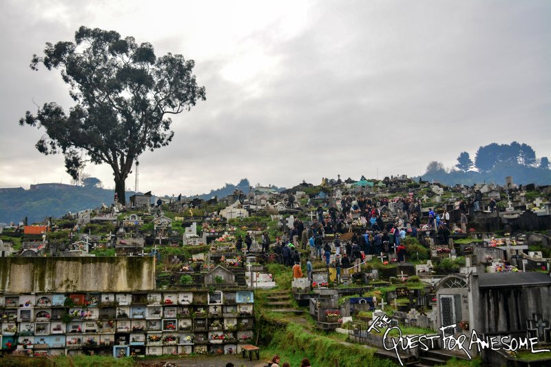 Graveyard on a hill in Puerto Montt, Chile