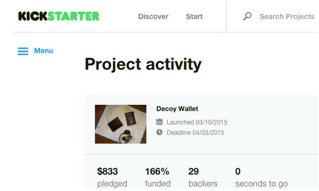 Decoy Wallet - Kickstarter Project Activity